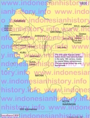 Kerajaan-kerajaan di Kalimantan Barat, tahun 1800.