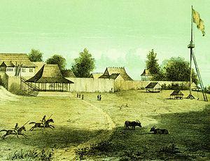 Kompleks keraton Banjar di Martapura pada tahun 1843