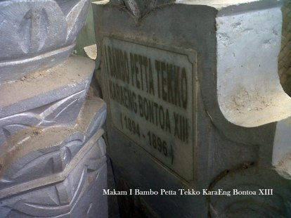 Bontoa. Makam I Bambo Petta Tekko Karaeng Bontoa XIII. Sumber foto: La Patau Matanna Tikka ( Raja Bone ke XVI (1696 – 1714), FB