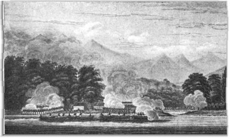 Infanteri A.S. menyerang benteng Aceh di Kuala Batee pada tahun 1832