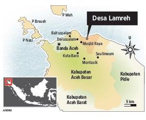 Lokasi Desa Lamreh. Pusat Kerajaan Lamuri