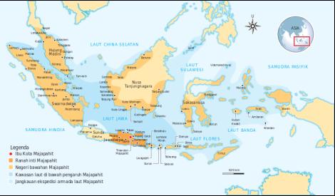 Peta wilayah kekuasaan Majapahit berdasarkan Nagarakertagama; keakuratan wilayah kekuasaan Majapahit menurut penggambaran orang Jawa masih diperdebatkan.