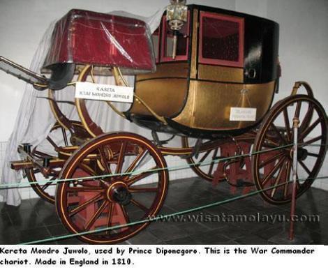 Keraton Yogyakarta. Kereta Mondro Juwolo, usde by Prince Diponegoro. Made in England, 1810
