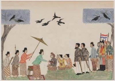 Ilustrasi hukuman mati Trunojoyo oleh Amangkurat II pada tanggal 2 Januari 1680. Trunojoyo dihukum mati dihadapan Kapten Jonker (VOC) dan kedua istri Trunojoyo, Kleting Kuning dan Kleting Wungu.