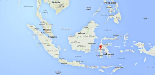 Lokasi Tanah Toraja (merah)