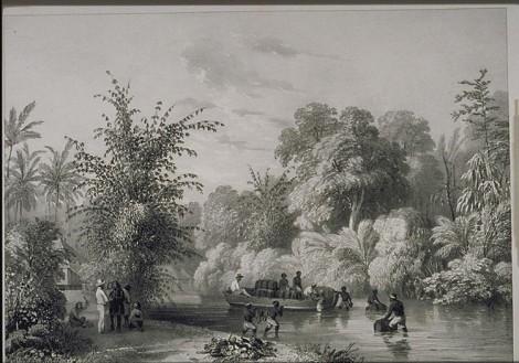 Manado, Sulawesi - Sungai Kema; lukisan Charles William M van de Velde 1845