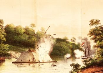 Kapal uap Celebes berperang melawan benteng rakit apung yang disebut Kotamara dikemudikan orang Dayak pada tanggal 6 Agustus 1859 di pulau Kanamit, sungai Barito.