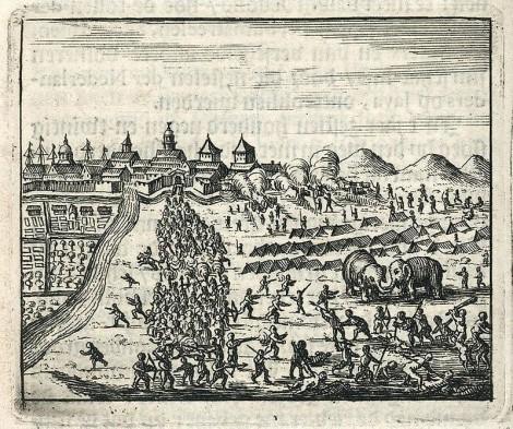 Serangan Besar di Batavia oleh Sultan Mataram pada tahun 1628 (cetakan setelah 1680).