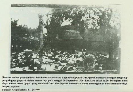 Puputan Badung, Bali, 1906 - Puri Agung Badung. Puputan, 20 september 1906, 16.30 h.