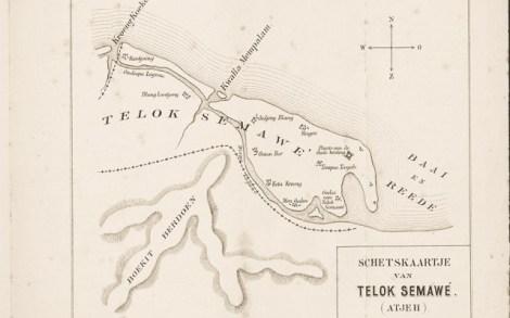 PETA Lhokseumawe yang dilampirkan seorang Kapten Laut Belanda, Von Schmidt, dalam bukunya yang berjudul Telok Semawe De Beste Haven op Atjeh's Noordkust (Teluk Semawe Pelabuhan Terbaik di Pesisir Utara Aceh) pada tahun 1887.