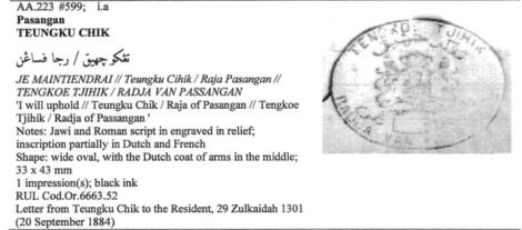 Documents stamp of the king of Peusangan